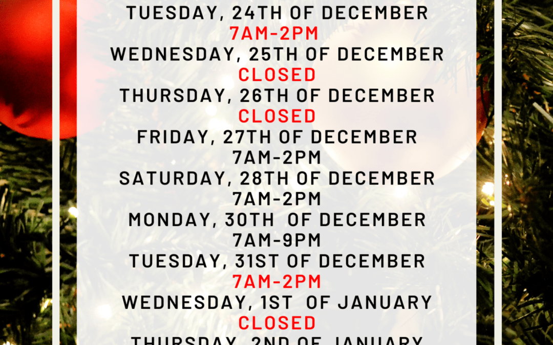 MD Health Christmas Opening hours